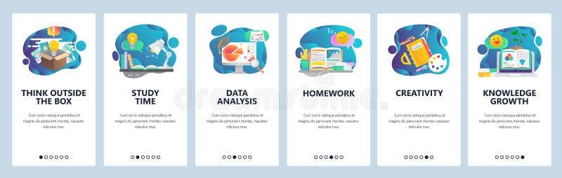 Onboarding Schirme der Website Ausbildung, Wissen, Studieren und Kreativität Menüvektor-Fahnenschablone für Website und stock abbildung