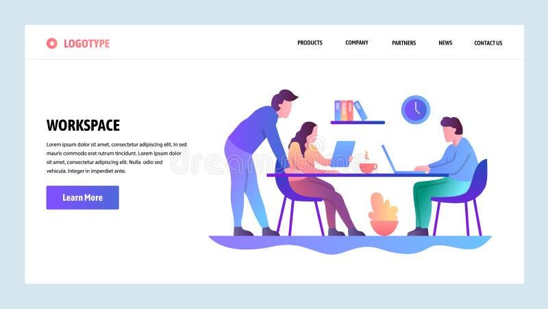 Onboarding Schirme der Website Bürositzung und coworking Arbeitsplatz Menüvektor-Fahnenschablone für Website und Mobile lizenzfreie abbildung