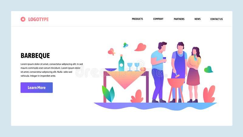 Onboarding Schirme der Website Bbq-Partei und -picknick in einem Park Menüvektor-Fahnenschablone für Website und mobilen App lizenzfreie abbildung