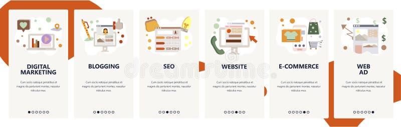 Onboarding Schirme der Website Digital-Marketing, SEO und on-line-Einkaufen Menüvektor-Fahnenschablone für Website und lizenzfreie abbildung