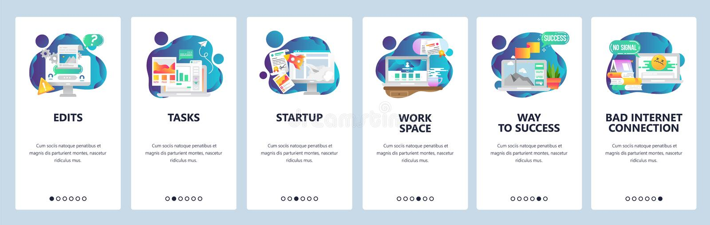 Onboarding Schirme der Website Geschäftsführung und Softwareentwicklung Menüvektor-Fahnenschablone für Website und lizenzfreie abbildung