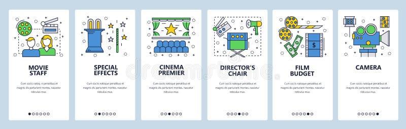 Onboarding Schirme der Website Kino- und Filmindustrieikonen Menüvektor-Fahnenschablone für Website und mobilen App lizenzfreie abbildung