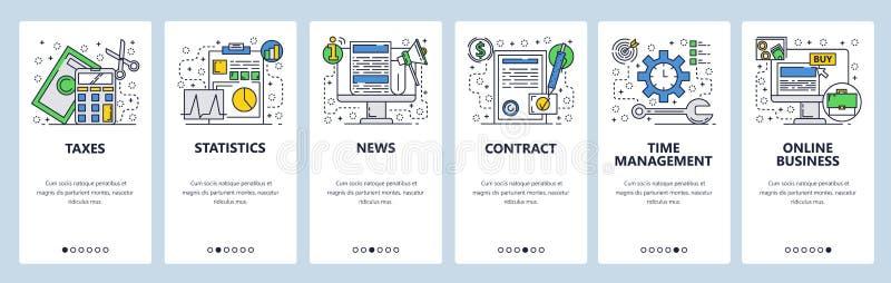 Onboarding Schirme der Website On-line-Geschäft, Steuern, Vertrag und News - Feed Menüvektor-Fahnenschablone für Website und vektor abbildung