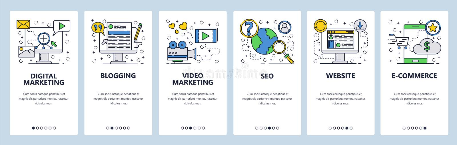 Onboarding Schirme der Website SEO, digitales Marketing, on-line-Einkaufen, Video Menüvektor-Fahnenschablone für Website und stock abbildung