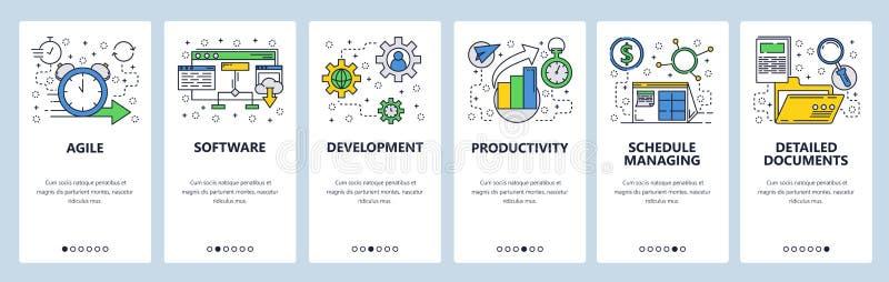 Onboarding Schirme der Website Softwareentwicklung und Teammanagement Menüvektor-Fahnenschablone für Website und stock abbildung