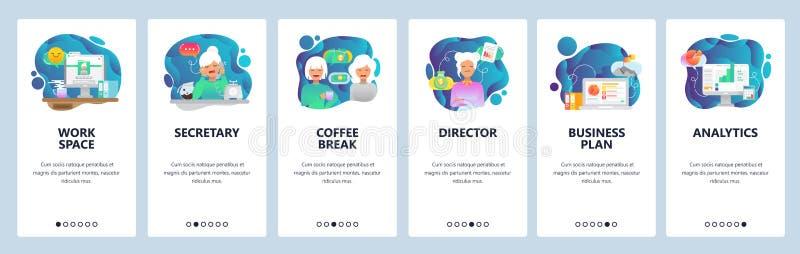Onboarding Schirme des mobilen App Büro, Kaffeepause, Geschäft Analytics, Arbeitsplatz Menüvektor-Fahnenschablone für stock abbildung