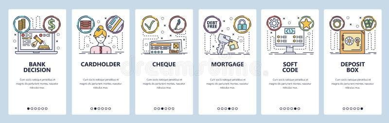 Onboarding Schirme des mobilen App Bankwesen und on-line-Darlehen, Scheck, Kreditkarte, Hypothek zählen Men?vektorfahne vektor abbildung