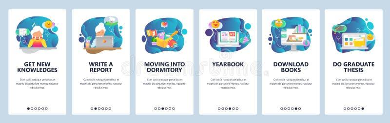 Onboarding Schirme des mobilen App College- und Schulbildungsikonen, Jahrbuch, on-line-Bibliothek, These Menüvektorfahne vektor abbildung