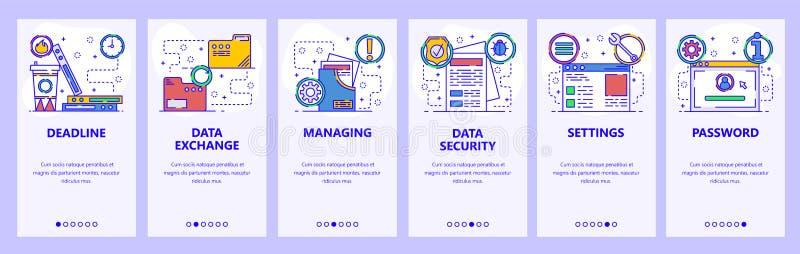Onboarding Schirme des mobilen App Computerdienstleistungen, sicherer Zugang, Datenaustausch und Sicherheit Menüvektor-Fahnenscha stock abbildung