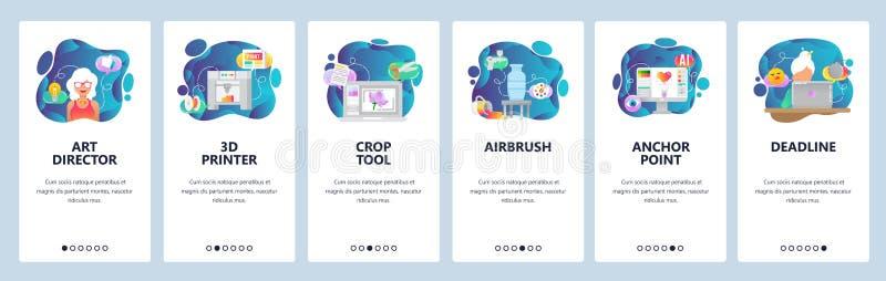 Onboarding Schirme des mobilen App 3d Drucker, Spritzpistole, Malerei, digitale Illustration, Projekttermin Menü-Vektor lizenzfreie abbildung