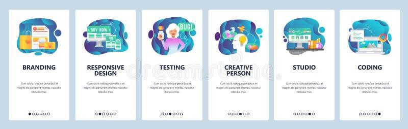 Onboarding Schirme des mobilen App Digital-Marketing, Einbrennen und Entwurfsstudio, Kreativität Menüvektor-Fahnenschablone lizenzfreie abbildung