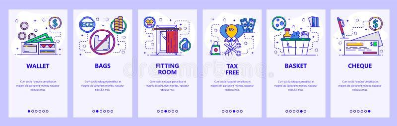 Onboarding Schirme des mobilen App Einkaufen, Gemischtwarenladen, Kleinsymbole und Ikonen Men?vektor-Fahnenschablone f?r stock abbildung