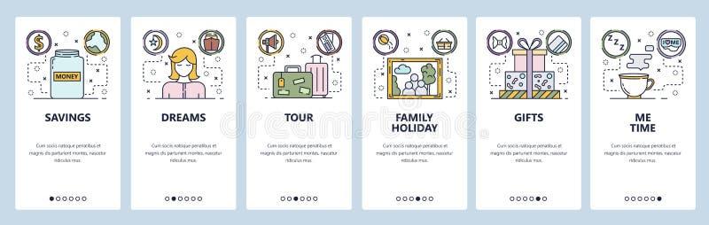 Onboarding Schirme des mobilen App Geldeinsparungen, Reisetasche, Familienporträt, ich Zeit Menüvektor-Fahnenschablone für vektor abbildung