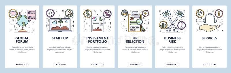 Onboarding Schirme des mobilen App Geschäftsrisiko, Start-Investition, Call-Center Menüvektor-Fahnenschablone für Website lizenzfreie abbildung