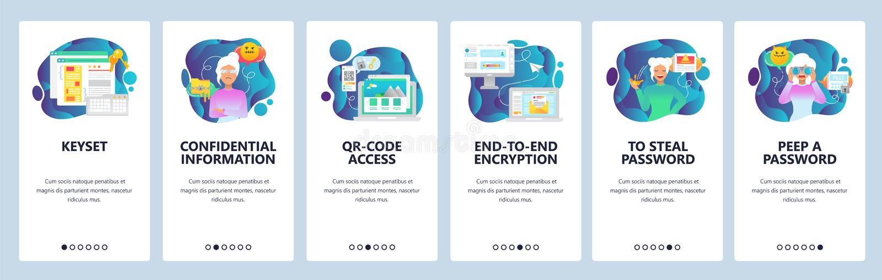 Onboarding Schirme des mobilen App Internet-Sicherheit, sicherer Zugang QR-Codes, Verschlüsselung, Passwort Menüvektorfahne vektor abbildung