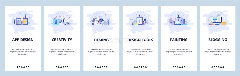 Onboarding Schirme des mobilen App Kreativität, Schmierfilmbildung, Design-Tools, Malerei, bloggend Men?vektor-Fahnenschablone f? vektor abbildung