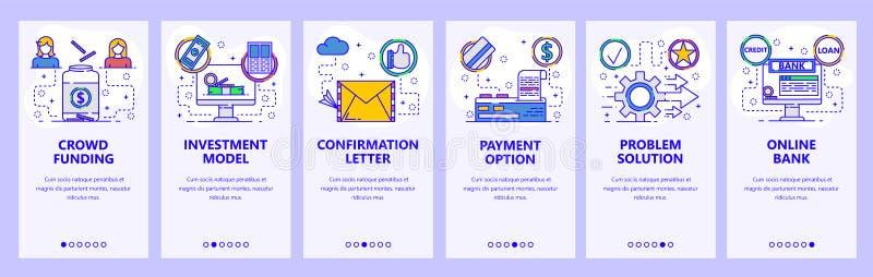 Onboarding Schirme des mobilen App On-line-Bank und Geldüberweisung, Investition und Mengenfinanzierung Menüvektor-Fahnenschablon stock abbildung