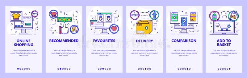 Onboarding Schirme des mobilen App On-line-Einkaufen, Paketlieferung, Produktbewertung und Bericht Menüvektorfahne vektor abbildung