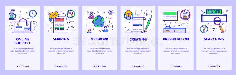 Onboarding Schirme des mobilen App On-line-Stützschwätzchen, teilende Dokumente, Projektorgerät Menüvektor-Fahnenschablone für lizenzfreie abbildung