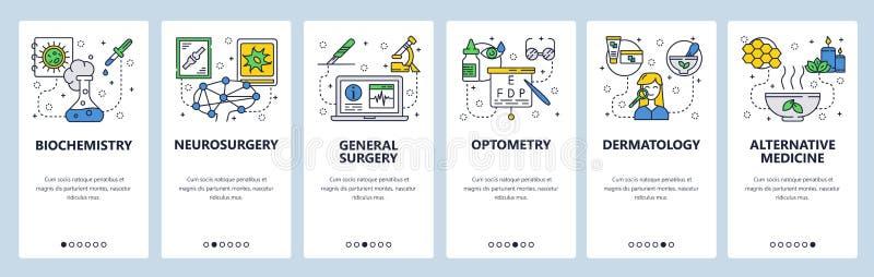 Onboarding Schirme des mobilen App Medizin- und Krankenhausikonen, Labor, Chirurgie, Optometrie, Kräuter Menüvektor-Fahnenschablo vektor abbildung