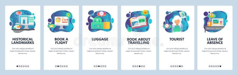 Onboarding Schirme des mobilen App Reise, Buchflug, Wandern, touristisch Menüvektor-Fahnenschablone für Website und lizenzfreie abbildung