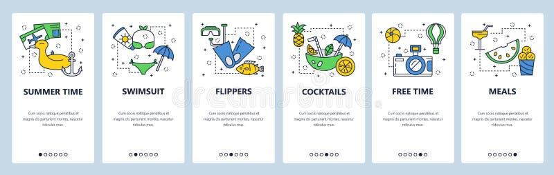 Onboarding Schirme des mobilen App Reise-, Ferien- und Strandurlaubikonen Schwimmen, Tauchen, Cocktails Menüvektorfahne vektor abbildung