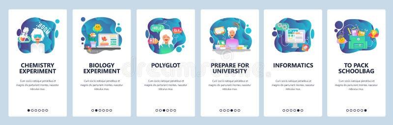 Onboarding Schirme des mobilen App Schul- und Hochschulbildung, Chemielabor, Biologieexperiment, Sprache lernend lizenzfreie abbildung