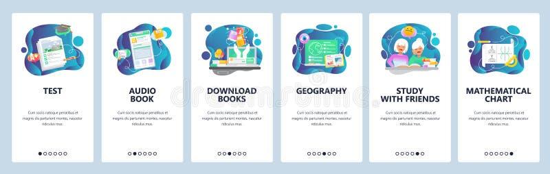Onboarding Schirme des mobilen App Schulbildungs-, Audio- und elektronischebücher, Mathe Menüvektor-Fahnenschablone für vektor abbildung