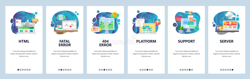 Onboarding Schirme des mobilen App Software und Web-Entwicklung, Kodierung, 404 Fehler, Schwätzchen Botassistent Menüvektorfahne lizenzfreie abbildung