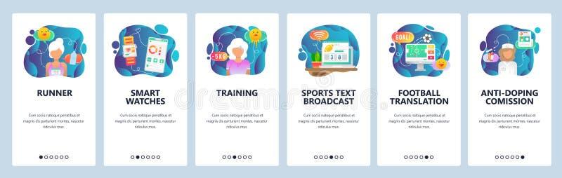 Onboarding Schirme des mobilen App Sport, Läufer, tragbare Geräte, Training, Sportnachrichten und Spiele übertrugen Menüvektor stock abbildung