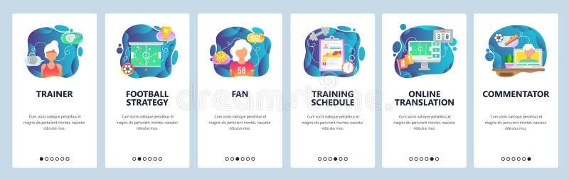 Onboarding Schirme des mobilen App Sportspieltrainer, Fußballstrategie, Sportfreund und Kommentator Menüvektorfahne vektor abbildung