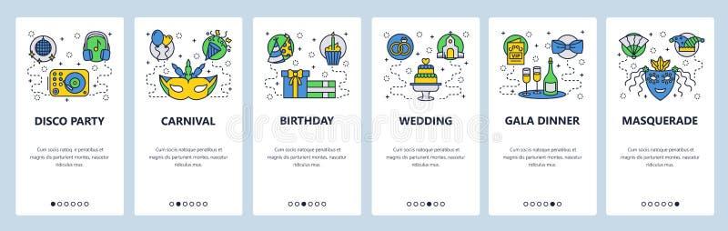 Onboarding Schirme des mobilen App Unterhaltungsikonen, carnaval, Partei, Hochzeit, Maskerade Menüvektor-Fahnenschablone lizenzfreie abbildung