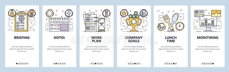Onboarding Schirme des mobilen App Unternehmensplan, Büroanmerkungen, Mittagspause Menüvektor-Fahnenschablone für Website und lizenzfreie abbildung