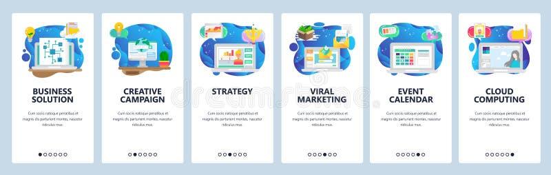 Onboarding Schirme des mobilen App Unternehmensplan und Strategie, Virenmarketing, E-Mail, Veranstaltungskalender Men?vektorfahne lizenzfreie abbildung