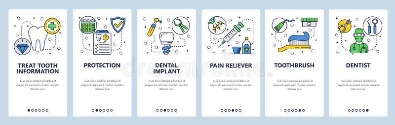 Onboarding Schirme des mobilen App Zahnpflege, Zahnimplantat, Zahnarztdoktor und Krankenversicherung Menüvektorfahne vektor abbildung