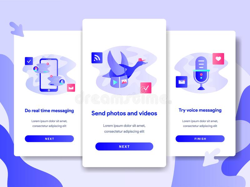 Onboarding screen page template of Chat Messaging App Concept. Modern flat design concept of web page design for website and stock illustration