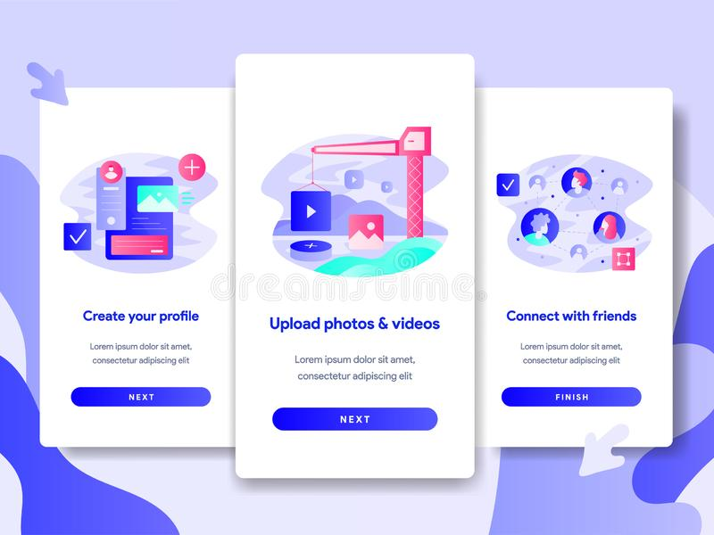 Onboarding screen page template of Online Plane Ticket Booking Concept. Modern flat design concept of web page design for website vector illustration