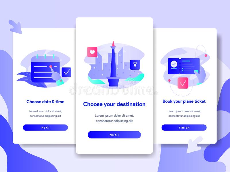 Onboarding screen page template of Online Plane Ticket Booking Concept. Modern flat design concept of web page design for website royalty free illustration