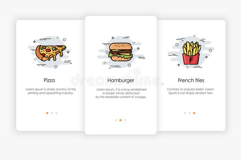 Onboarding screens design in fast food concept. Modern and simplified vector illustration. Template for mobile apps stock illustration