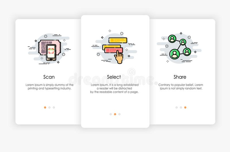 Onboarding screens design in how to use app concept. Scan Select and Share icon. stock illustration