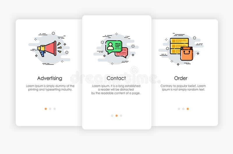 Onboarding screens design in marketing concept. Modern and simplified vector illustration, Template for mobile apps royalty free illustration