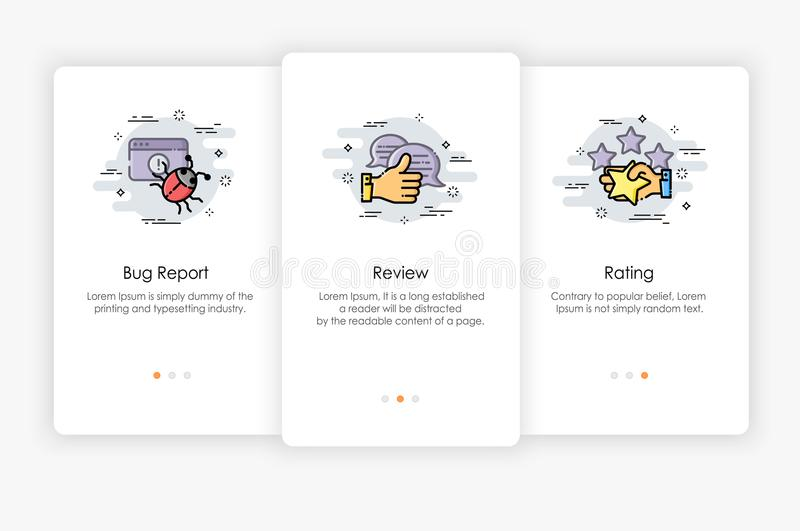 Onboarding screens design in Review and Report concept. Modern and simplified vector illustration, Template for mobile apps vector illustration