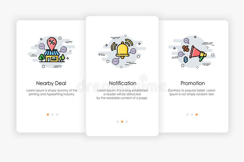Onboarding screens design in Shopping concept. royalty free illustration