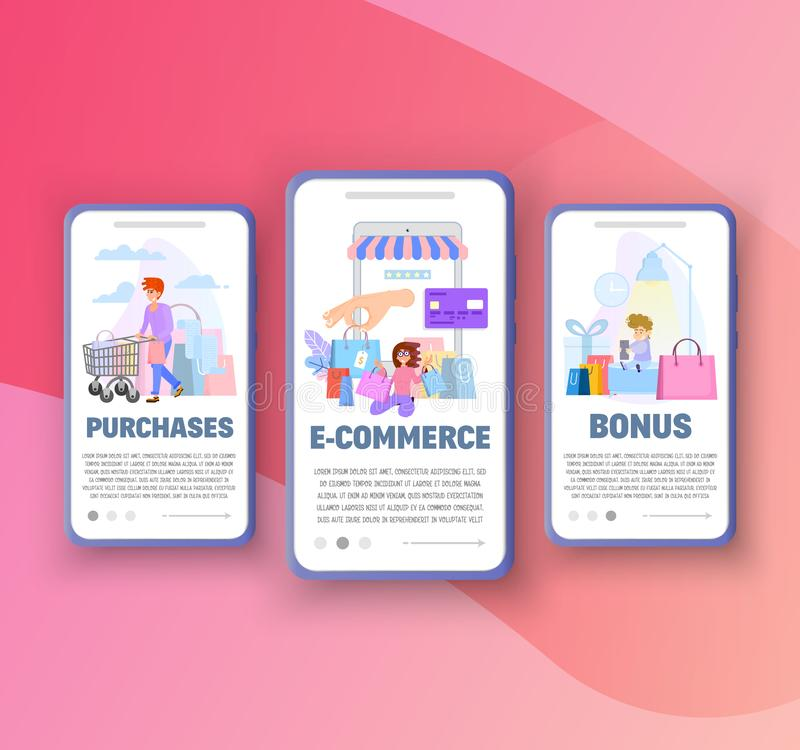 Onboarding screens - sales, and online purchases templates for mobile apps royalty free illustration