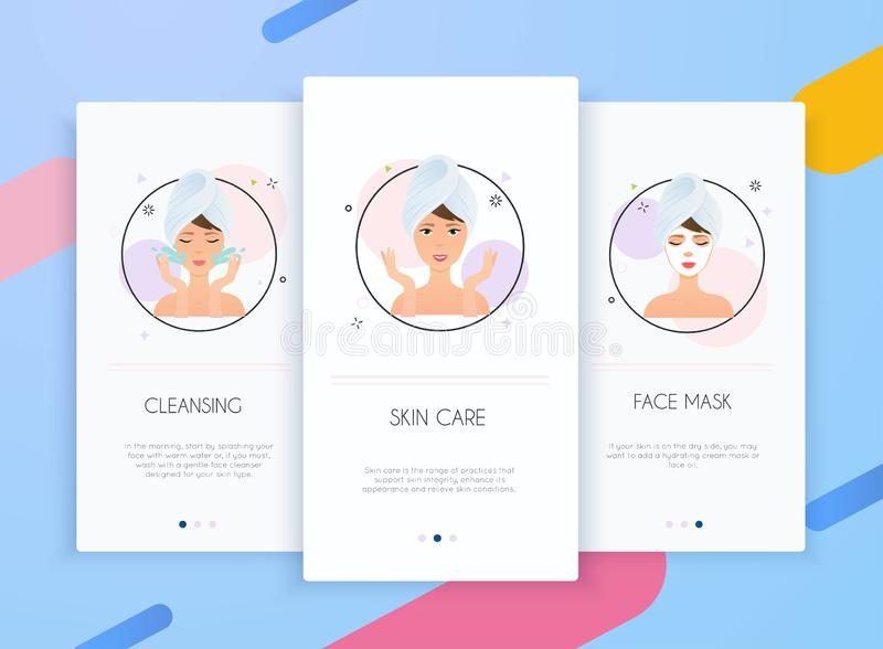 Onboarding screens user interface kit for mobile app templates concept of skin care. Steps how to apply facial mask. Skincare stock illustration