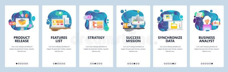 Onboarding skärmar för mobil app Affärsstrategi, ny produktfrigörare, datasynkronisering Mall för menyvektorbaner för royaltyfri illustrationer
