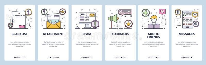 Onboarding skärmar för mobil app Email skräppost, återkopplingsservice Mobil messaging app Mall för menyvektorbaner för vektor illustrationer