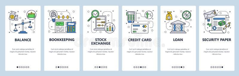 Onboarding skärmar för mobil app Finansiell rådgivning, banklån, redovisning och kreditkortbetalning Menyvektorbaner royaltyfri illustrationer