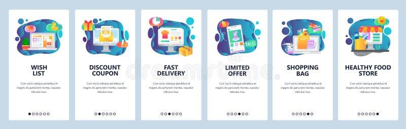 Onboarding skärmar för mobil app Online-shopping, önskelista, försäljningar och befordran, livsmedelsbutik Menyvektorbaner stock illustrationer