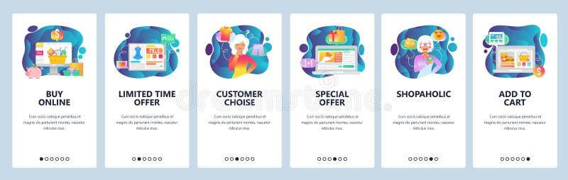 Onboarding skärmar för mobil app Online-shopping, kundchoise, erbjudande för special försäljning, shopaholic kvinna Menyvektor royaltyfri illustrationer